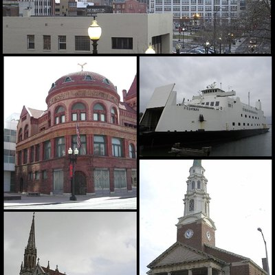 Photographic montage of Bridgeport Connecticut, showing clockwise from top Downtown Bridgeport, the Bridgeport-Port Jefferson Ferry, the United Congregational Church, St Patricks Church, and the PT Barnum Museum