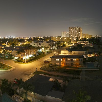 Nightime panorama of Briny Avenue in Pompano Beach, FL. Taken from the eighth floor.