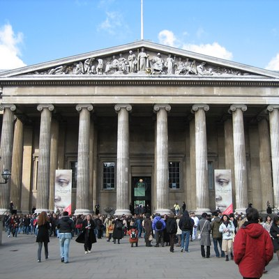 British Museum entrance, Bloomsbury, Camden, London, England, United Kingdom