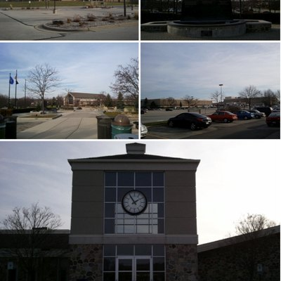 A collage of photos from Brookfield, Wisconsin. From Top left clockwise: Brookfield Square Mall, Veterans Memorial Fountain, City Hall, and Brookfield Central High School