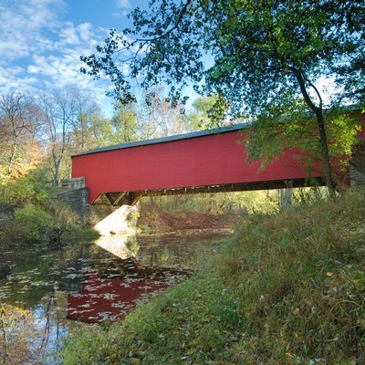 The Ramp Creek Covered Bridge at the north entrance of Brown County State Park in Indiana. Photo by Chuck Szmurlo taken Oct 31, 2007 with a Nikon D200 and a Nikon 12-24 f4 lens with a Singh Ray graduated neutral density filter.