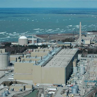 Aerial photo of the Bruce Nuclear Generating Station near Kincardine Ontario. Photo by Chuck Szmurlo taken March 15, 2006 with a Nikon D70 and a Nikon 70-200 f2.8 lens.