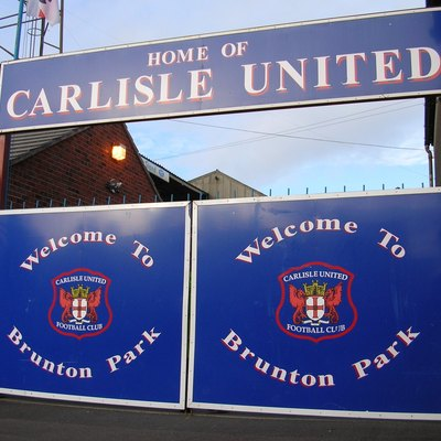 Welcome sign at Brunton Park, home of Carlisle United F.C.