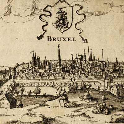 A view of Brussels( Belgium) from suburb.Engraving circa 1610