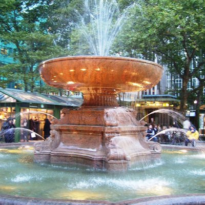 The Josephine Shaw Lowell Memorial Fountain, the fountain in Bryant Park in Manhattan, New York City.