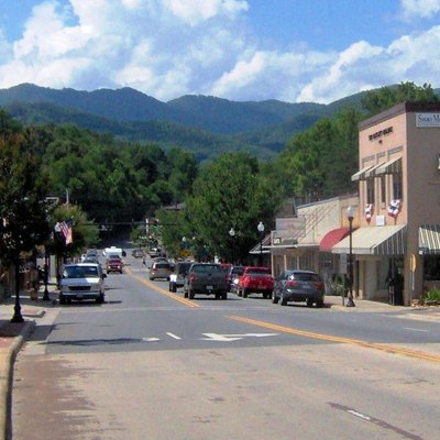 Everett Street in Bryson City, North Carolina, in the southeastern United States. This view is looking north from the bridge over the Tuckasegee.