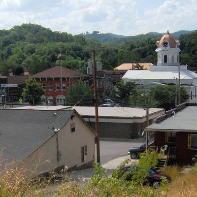 Bryson City, North Carolina, In The Southeastern United States, Looking North From A Hillside. The Swain County Courthouse Is The White Clock-Tower Building Right Of Center. (It'S Now The Townhall.)