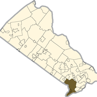 Bensalem Township Shaded On The Map Of Bucks County, Pa.