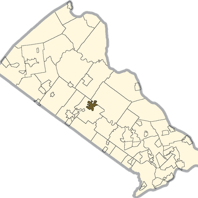 Doylestown Shaded On The Map Of Bucks County, Pa.