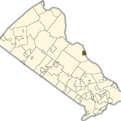 New Hope Shaded On The Map Of Bucks County, Pa.