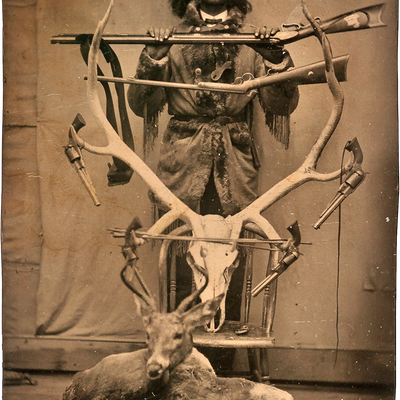 Sixth Plate Tintype of a Young Buffalo Bill Cody Posed with Guns and Game. Published in Wilson & Martin's Buffalo Bill's Wild West: An American Legend (p. 9), where it is described as believed to have been taken at Fort McPherson, Nebraska, ca 1871, and illustrates Cody's flair for showmanship even before he became a performer.