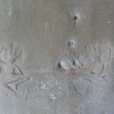 Bullet holes from the Khmer Rouge period at Angkor Wat