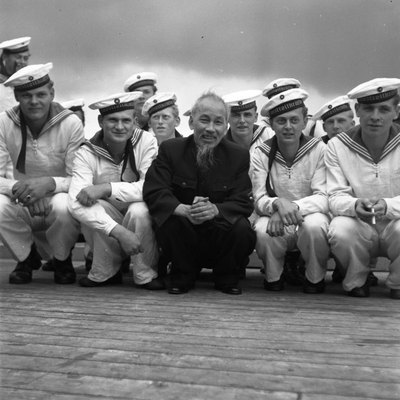 Ho Chi Minh with East German sailors in Stralsund harbour, 1957