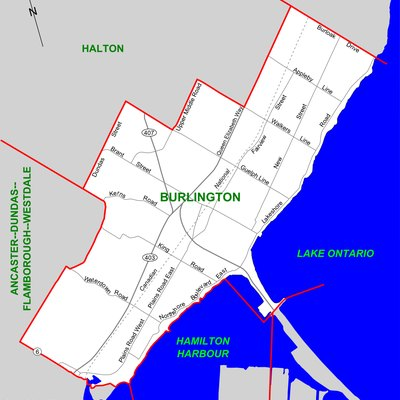 Map of the Ontario federal and provincial riding of Burlington (boundaries defined in 2003, adopted federally in 2004 and provincially in 2007)