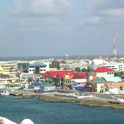 Business buildings near the center of George Town, seen from the ship. North Sound is in the distance.