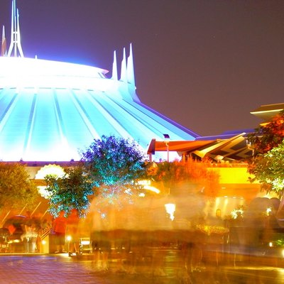 Space Mountain in Tomorrowland at Disneyland at night. Cropped from the original (CC BY 2.0) licensed image.