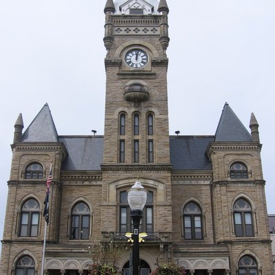 Front of the Butler County Courthouse, located at the intersection of South Main and West Diamond Streets in downtown Butler, Pennsylvania, United States. Built in 1885, the courthouse is listed on the National Register of Historic Places, and it is located within the bounds of the Register-listed Butler Historic District.