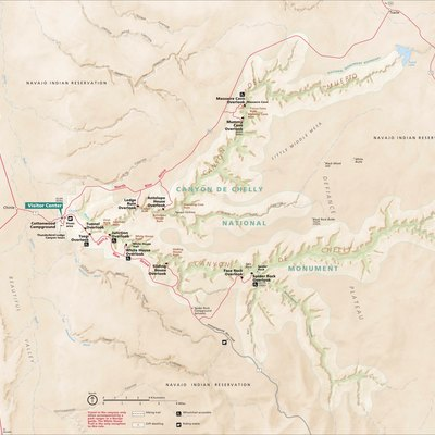 Map of Canyon de Chelly National Monument, Arizona, USA