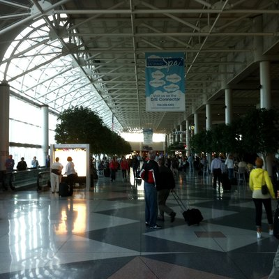 Inside the main atrium at Charlotte/Douglas International Airport
