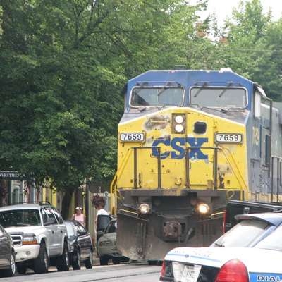 CSXT Freight train rolling through downtown LaGrange