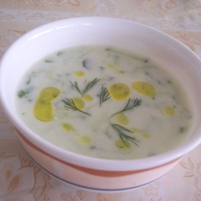Cacık is a popular soup-like food in Turkish cuisine. In this picture it is served with a few drops of olive oil and a few pieces of dill on it.