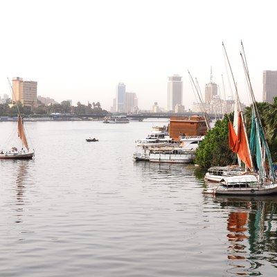 The Nile River as it flows through the city of Cairo, Egypt.
