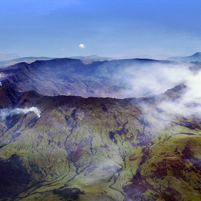 Aerial view of the caldera of Mt Tambora at the island of Sumbawa, Indonesia