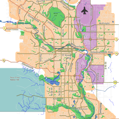 Outline map of Calgary.