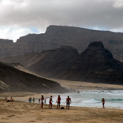 Sao Vicente Island, Cape Verde. The beach of Praia Grande and Monte Verde in the background.