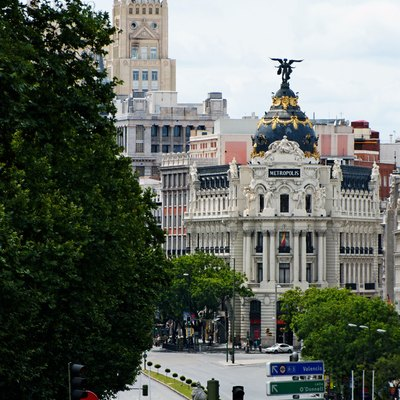 Calle De Alcalá (Street) In Madrid (Spain). In The Background, The Metropolis Building.