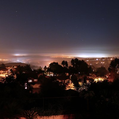 A night shot of Carlsbad CA. Looking Southwest from Molly Mountain (Mount Calavera) in the Northeast quadrant.