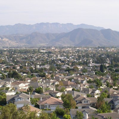 Image of Camarillo, California looking southeast taken from a hillside on the northwestern part of the city near Estaban Drive.