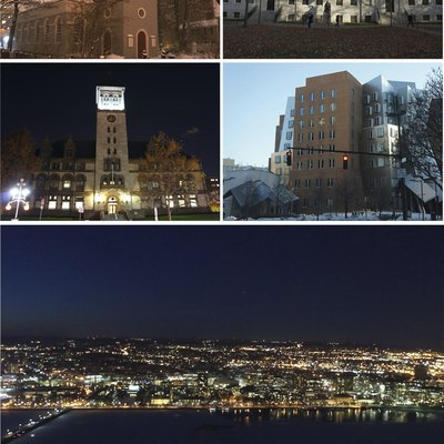 A montage of some photos of landmarks in Cambridge, Massachusetts. Dates (DD/MM/YY) are in parentheses. Clockwise, from top left: Christ Church (05/02/14), University Hall at Harvard University (14/11/13), The MIT Stata Center, an aerial view of Cambridge at night from the Prudential Center Skywalk Observatory (17/02/14), and Cambridge City Hall (08/11/14)