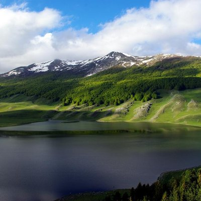 View of Campo Felice Lake in spring - Abruzzo, Italy