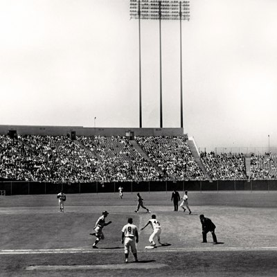 Candlestick Park in 1965, Home of the San Francisco Giants until 1999. Hall of famer Willie McCovey making the play at first base in a Sunday day game vs the Mets at the 'Stick. I shot this photo when I was fifteen and still have the negative. Leica IIIc with Kodak film.