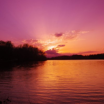 Sunset over Cane Creek Lake near Cookeville, Tennessee, United States.
