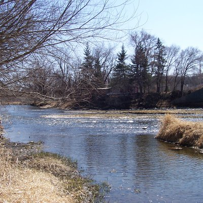 The Cannon River in April at Welch Township, Goodhue County, Minnesota