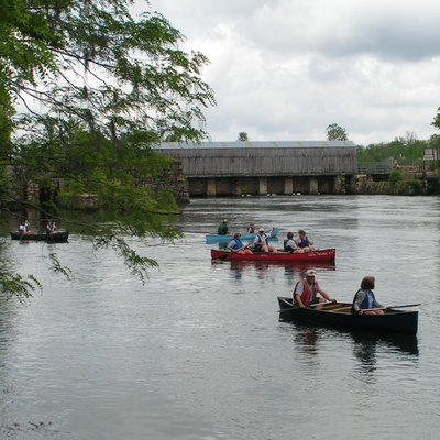 Canoes depart from Augusta Canal headgate area during Augusta Canal Cruise and Cookout 2004