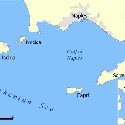 A map showing the islands of Capri and Ischia and the Bay of Naples.Created by NormanEinstein, May 17, 2005.
