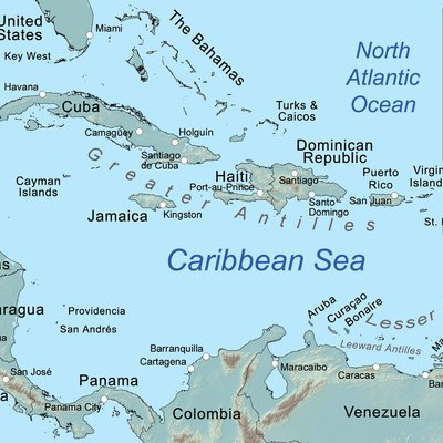 map of the caribbean sea and its islands