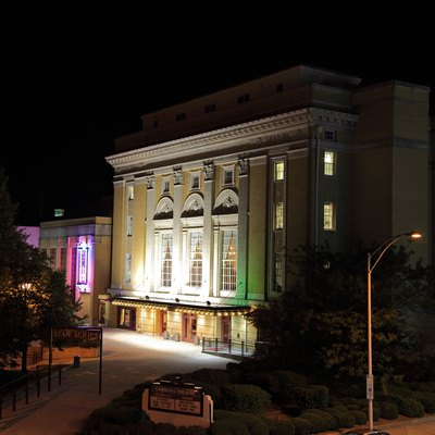 The Carolina Theatre at night in Durham, North Carolina.