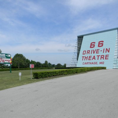 Marquée and rear of projection screen of Route 66 Drive-in in w:Carthage, Missouri