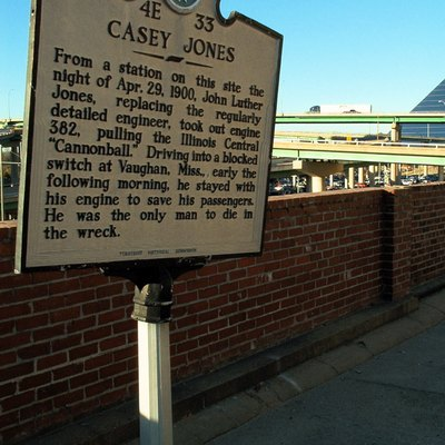 Historical marker commemorating the starting point of Casey Jones fatal journey in Memphis, Tennessee.