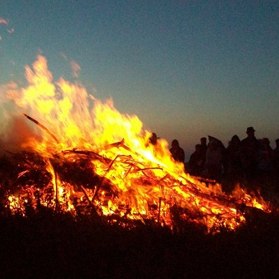 Traditional Cornish Hilltop bonfire. Midsummer's eve 2009
