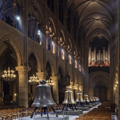 The new bells of Notre-Dame de Paris Cathedral on public display in the nave in February 2013