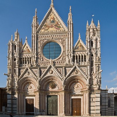 Facade of the Cathedral of Siena, currently called Duomo di Siena (Tuscany, Italy)