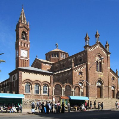 Our Lady of the Rosary Catholic Cathedral (1923) in Asmara, Eritrea, is one of the finest Lombard-style churches outside Italy. A plaque near the entrance lists Benito Mussolini as a donor.