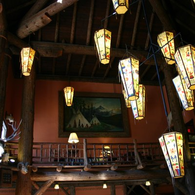 Ceiling lanterns in the lobby of Lake McDonald Lodge