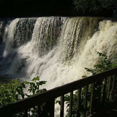 Waterfall In The Town Of Chagrin Falls Ohio