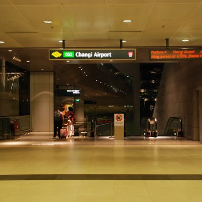 The Changi Airport Terminal 2 Arrival Hall exit of Changi Airport MRT Station, Singapore.